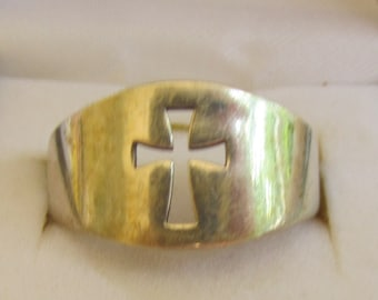 Ring Sterling Silver Open  Cut Out Cross  Signed JK  Vintage Estate Find