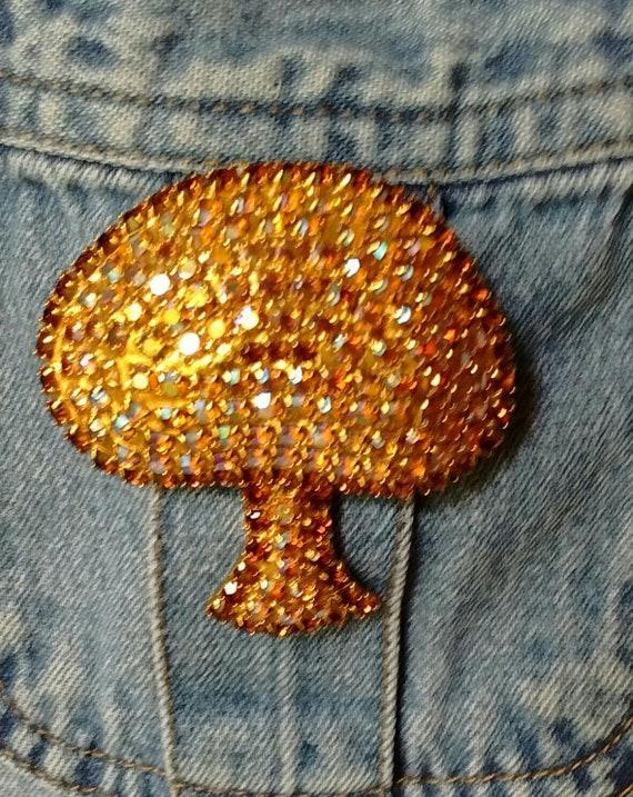Mushroom Pin  Gorgeous Rhinestone Vintage Mushroom