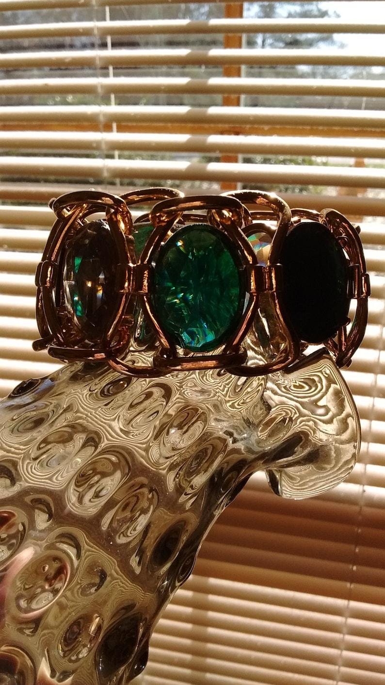 Bold Bright Beautiful Boho Vintage Crystal Gold Tone Bracelet