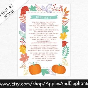 Digital File Unisex Printable Card Pregnancy Announcement Poem Customizable Stripes New Baby Pregnancy Announcement Poem