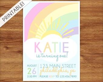 Pastel Rainbow Birthday Invitation - Rainbow Birthday Invite - Rainbow Birthday Party Invite - Printable