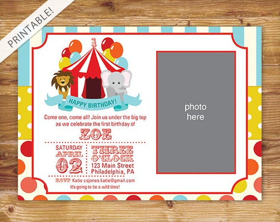 First Birthday Carnival Invite With Photo Circus Invitation