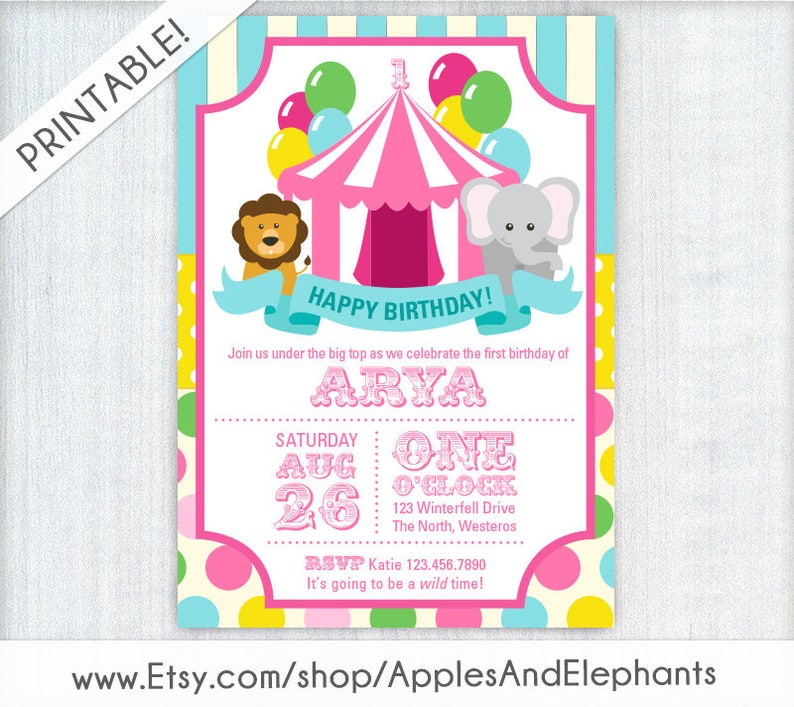 Pink First Birthday Carnival Invite Circus Invitation