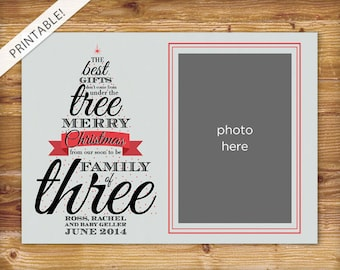 Typographic Christmas Tree Pregnancy Announcement with Photo - Photo Holiday Card - Christmas Card - New Baby
