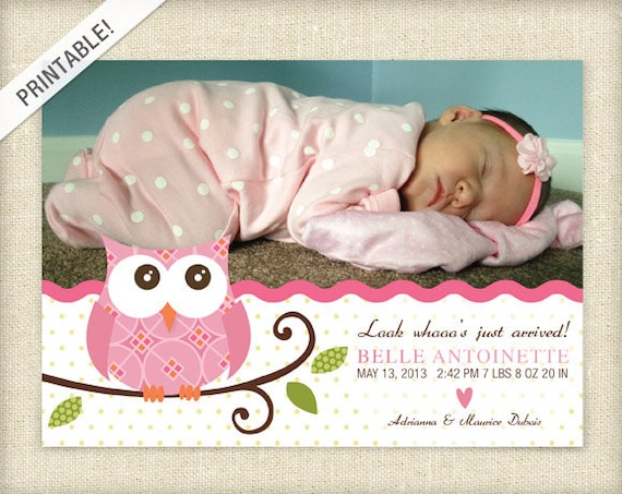 Pink Owl Birth Announcement