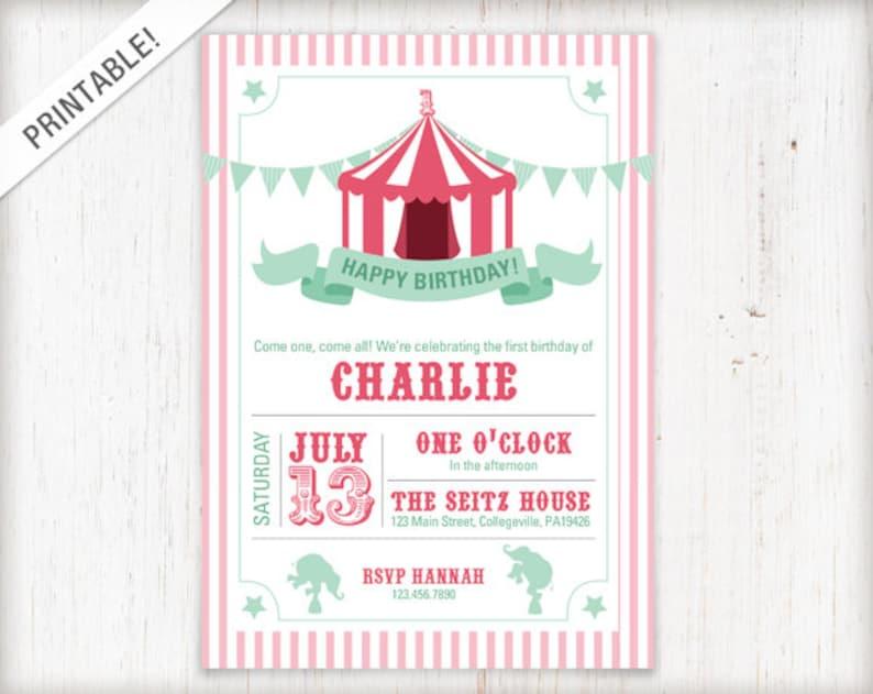 Circus Birthday Invitation Carnival Invite First