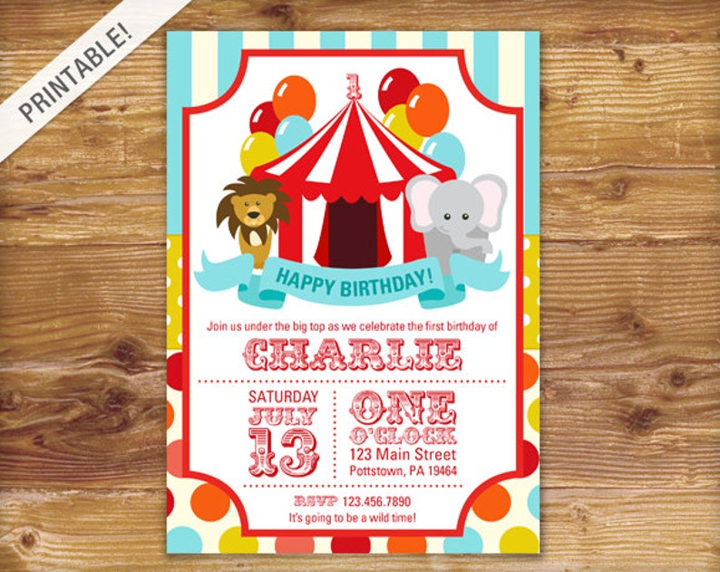 First Birthday Carnival Invite Circus Invitation