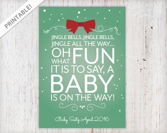 Typographic Christmas Present Pregnancy Announcement - Jingle Bells - Holiday Card - Green and Red Christmas Card - New Baby