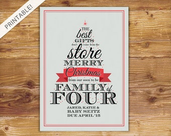 Typographic Christmas Tree Pregnancy Announcement - Holiday Card - Family of Four - Christmas Card - New Baby