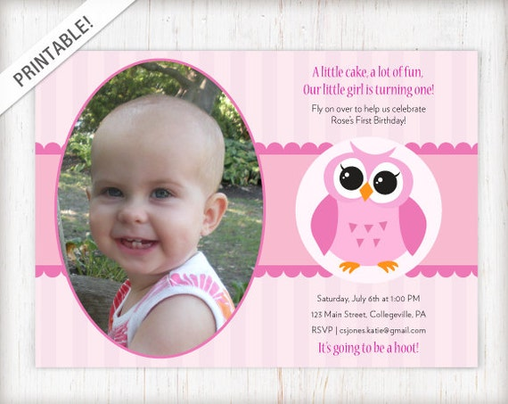 Owl Birthday Invitation Girls First Party