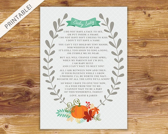 New Baby Announcement Poem Printable Card Fall Pregnancy Etsy