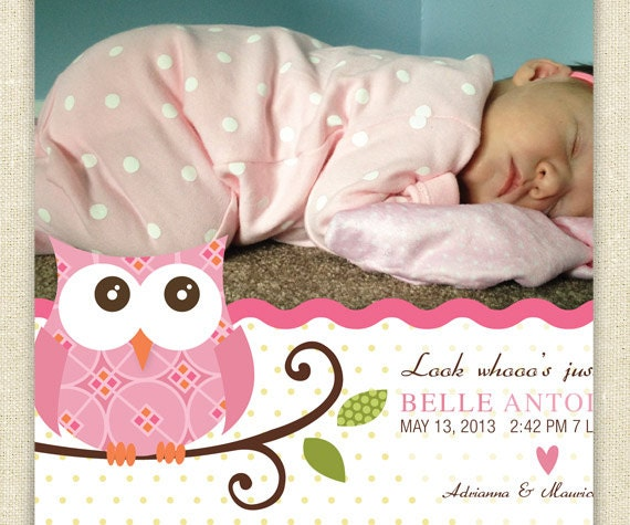 Pink Owl Birth Announcement Baby Look Whooos