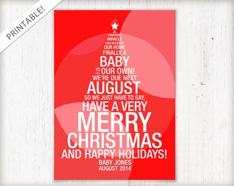 Christmas Tree Pregnancy Announcement - Red Holiday Card - New Baby Announcement - Typographic Card - Printable