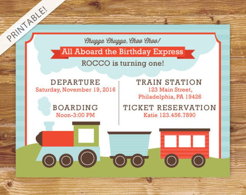 Train Birthday Invitation First Party Invite