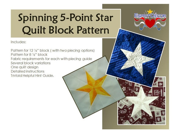 Pattern Spinning 60Point Star Quilt Block Etsy Extraordinary 5 Point Star Quilt Pattern