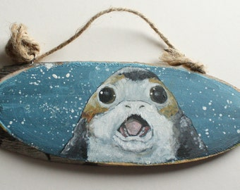 Hand Painted PORG Wooden Sign: Star Wars Inspired