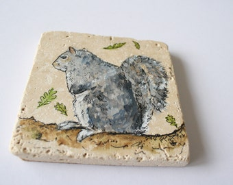 A Hand Painted Stone Coaster: Squirrel