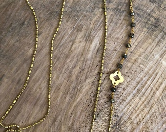 Long delicate asymmetrical necklace made with citrine and pyrite