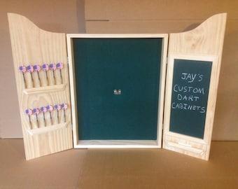 Quick View. CUSTOM Dart Board Cabinet W/Chalkboard Scoreboard U0026 Dart ...