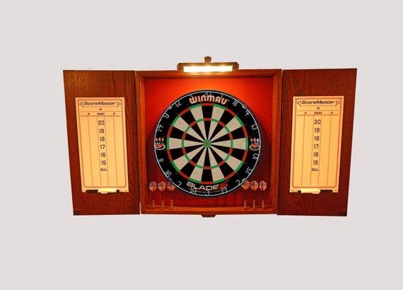 LED Lighted Oak Gunstock Stained Custom Dart Board Cabinet w/Cricket Dry Erase Scoreboards