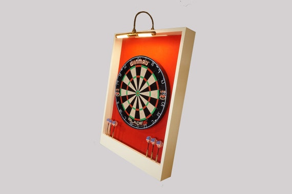 Custom LED LIGHTED Red U0026 White Trim Dart Board Backboard | Etsy