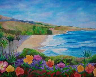 """Southern California Scenic Coast And Wild Poppies Original Acrylic Painting On Linen 18"""" x 24 """" x 3/4 """" Profile"""