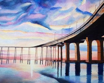 "Dramatic Sunset - Coronado Bridge In San Diego Original Acrylic Painting On Canvas 16 "" x 20 "" x 5 / 8 "" Profile"