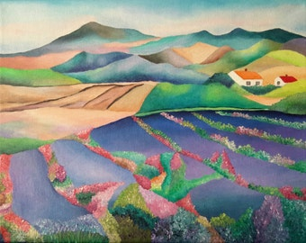 """Enjoying The Beautiful Countryside And The Flower Fields Second Edition Original Acrylic Painting On Canvas 11 """" height X 14 """" width"""