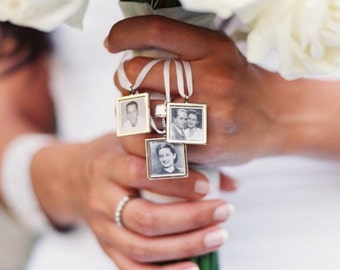 Walk me down the aisle - Wedding Jewelry charms to hang from bouquet - Square Photo memory pendant for keepsake includes everything you need
