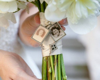 Loss of loved one gift for bride Wedding Bouquet charm kit - Photo Pendants photos (includes everything you need including instructions)