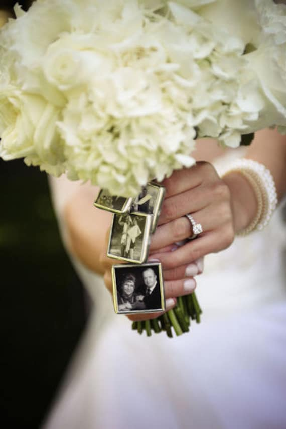 4 Wedding Bouquet Photo Charms To Hang From Bouquet Kit Etsy