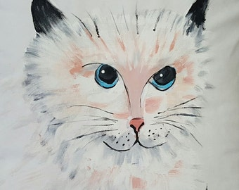 Hand Painted Kitty Cat Pillow Cover