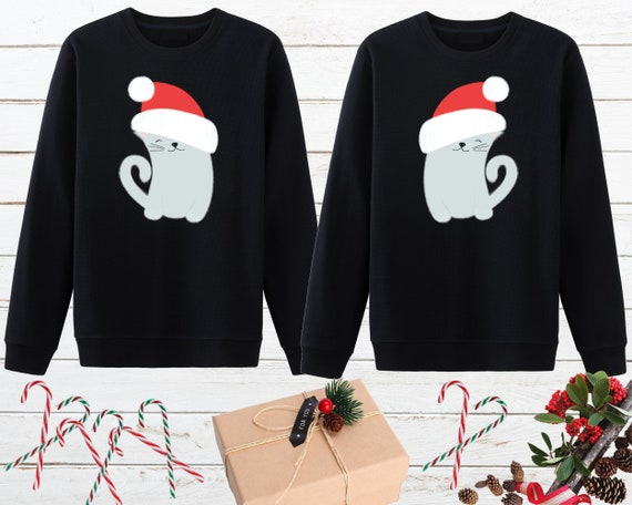 Christmas Cat Sweater.Matching Couple Christmas Cat Sweater Ugly Cat Sweater Couple Holiday Sweater Cat Sweatshirt Cat Mom Cat Dad Newlywed Christmas Gift