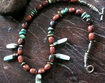 OOAK Jasper and Turquoise Necklace