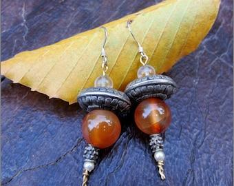 Carnelian,Tribal Silver and Pearl Dangle Earrings