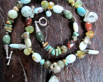 OOAK Jasper Beach-stone Treasure Necklace