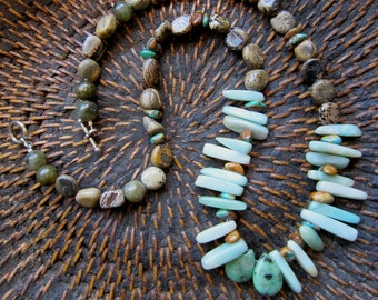 OOAK Aqua Amazonite and Brown Speckled Jasper Necklace