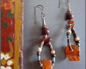 Amber, Carnelian and Antique Bead Earrings