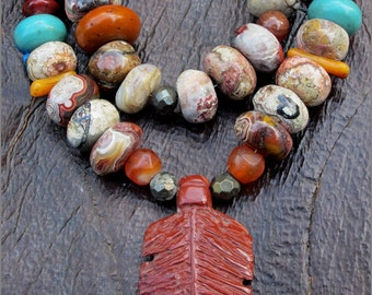 OOAK Autumn Jasper Tribal Feather Necklace
