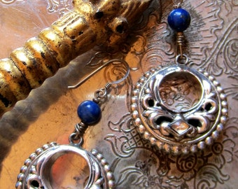 OOAK Lapis and Indian Silver Dangle Earrings