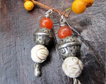Carnelian,Tribal Silver and Howlite Bead Earrings