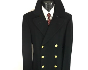 0ab80a38fb Vintage 60 s Vietnam Nam US Navy Officer Uniform BRIDGE Coat 10 Gold Btn  USN Military Long Double Breasted Wool Trench Jacket 37-38