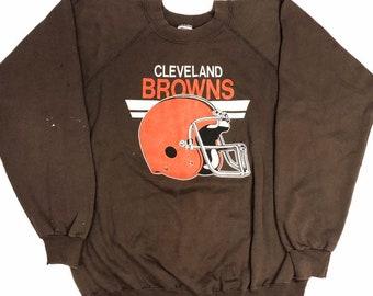 95f8cbd85 Vtg 70 s 80 s Trench Men NFL Cleveland BROWNS Football Team 50 50 Sweatshirt  XL