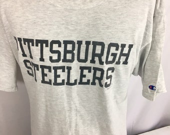 Vintage 90 s Champion NFL Pittsburgh Steelers 1996 Football Team NFLP  Heather Gray T-Shirt XL 31d2fac93