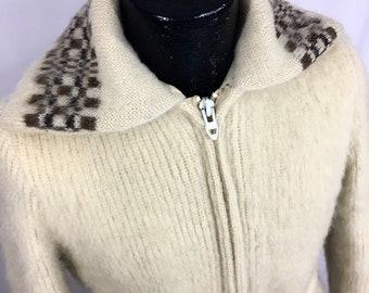 04f8c003422 Vintage Vtg 60's 70's Women's Icewool NORDIC Icelandic Fairisle Belted  Artic SHEEP Wool Dual Zipper LONG Coat Sweater Winter BoHo Jacket S