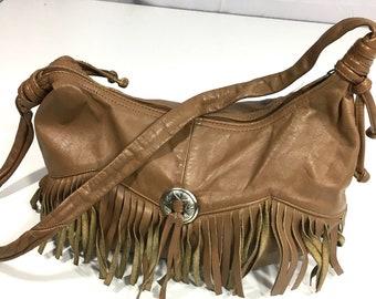 8b92510163fb Vintage 70 s 80 s Brown Leather HoBo Shoulder Bag Cowboy Western BoHo  CONCHO FRINGE Purse