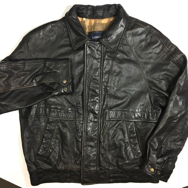 2b9007d56 Vintage London Fog Men GOAT SKIN Leather Bomber Jacket FLIGHT Motorcycle  Coat L Large