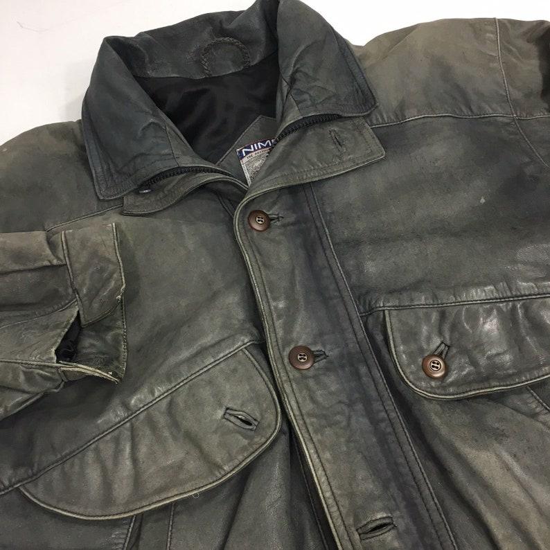 772b982e4 Vintage 80's Nimbus GANT Men Gun Metal Black Leather BOMBER Jacket  Motorcycle Biker Coat 42