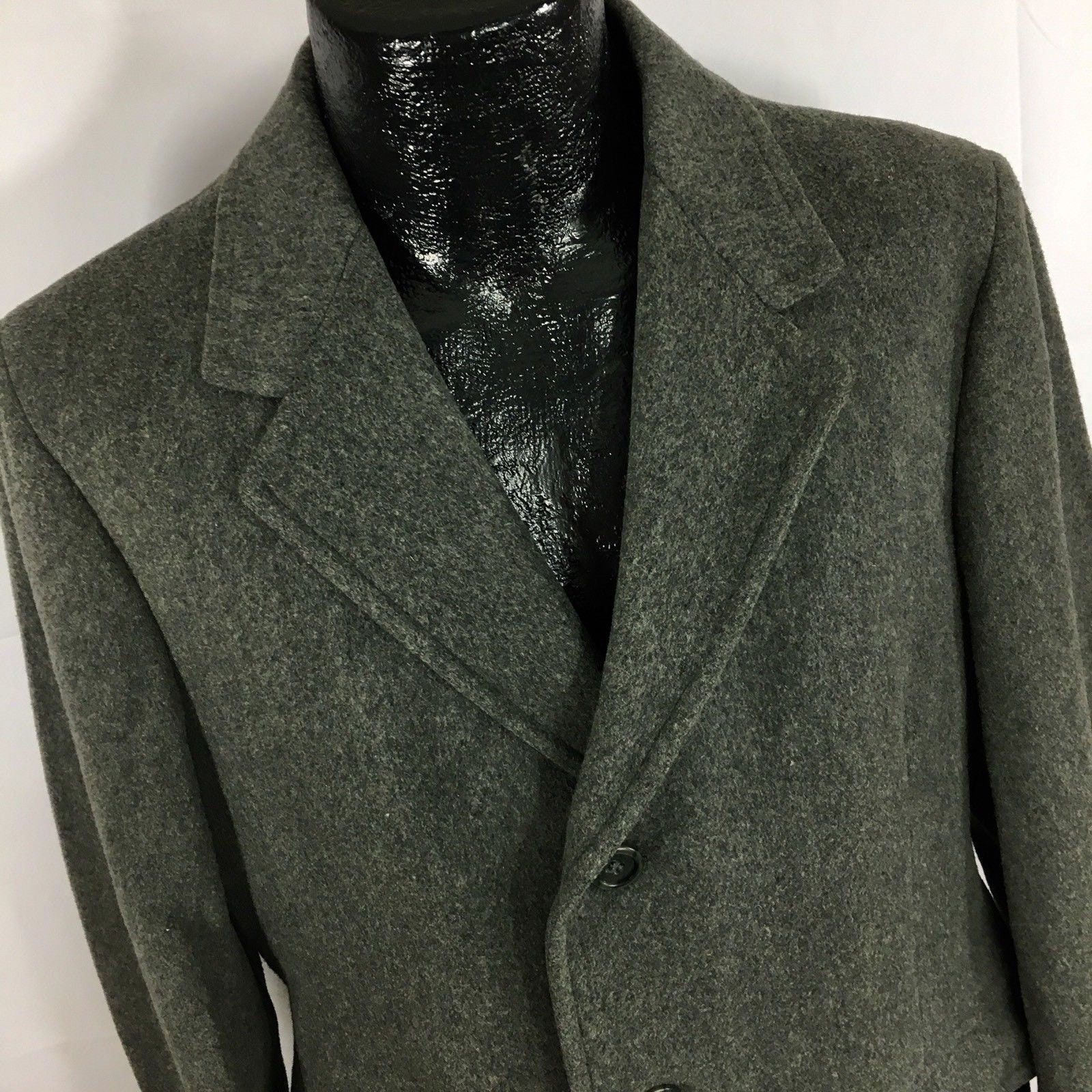 0a21d8ceb0bdd Vintage 60 s Embassy Men CHARCOAL Gray 3-BTN Wool Overcoat