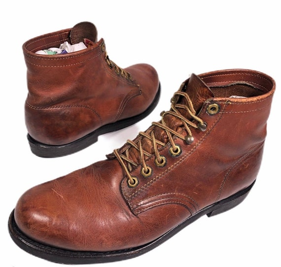 Vintage 50-60's Herman Men's Brown Leather Lace Up